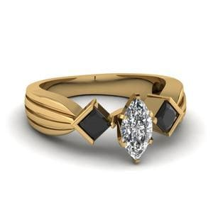 Half Bezel 3 Stone Marquise Cut Engagement Ring With Black Diamond In 18K Yellow Gold