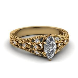 Milgrain Gold Black Diamond Ring