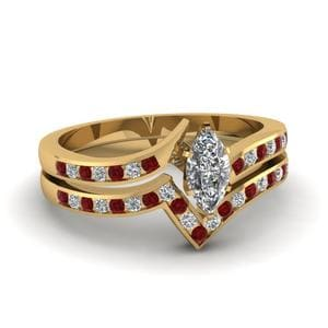 Twisted Edge Ruby Wedding Set