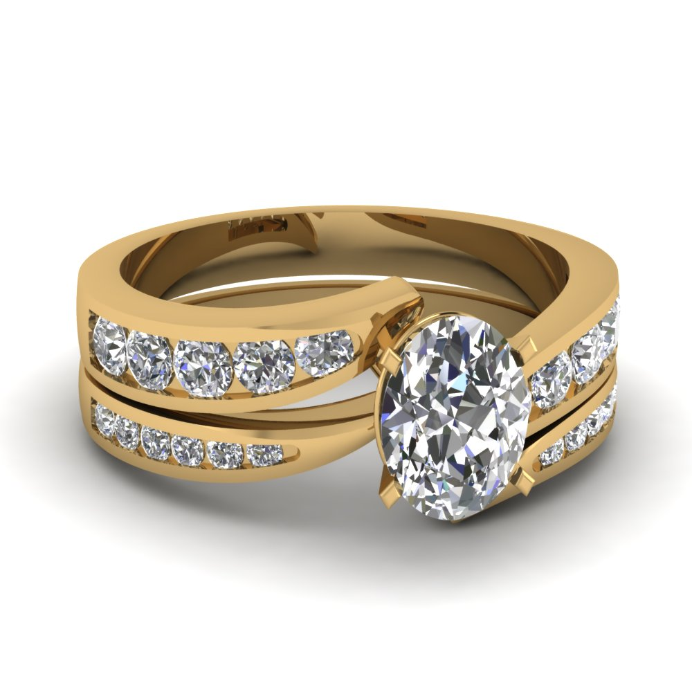 Yellow Gold Oval White Diamond Engagement Wedding Ring In Channel Set