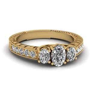 3 Stone Trellis Vintage Engagement Ring In 14K Yellow Gold