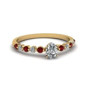 Oval Shaped Petite Floating Diamond Engagement Ring With Ruby In 18K Yellow Gold