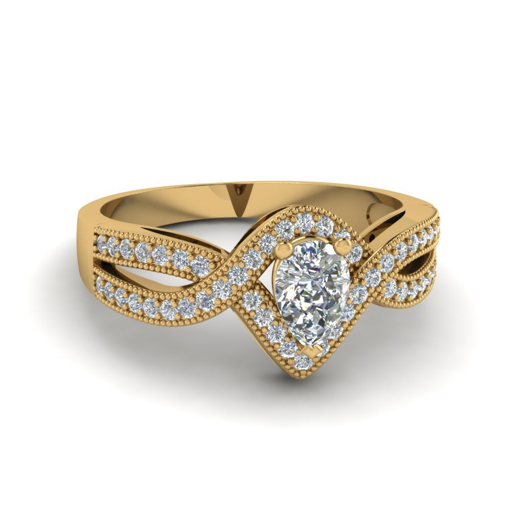 Pear Shaped Vintage Twisted Diamond Ring