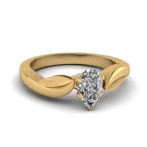 Solitaire Leaf Contour Ring