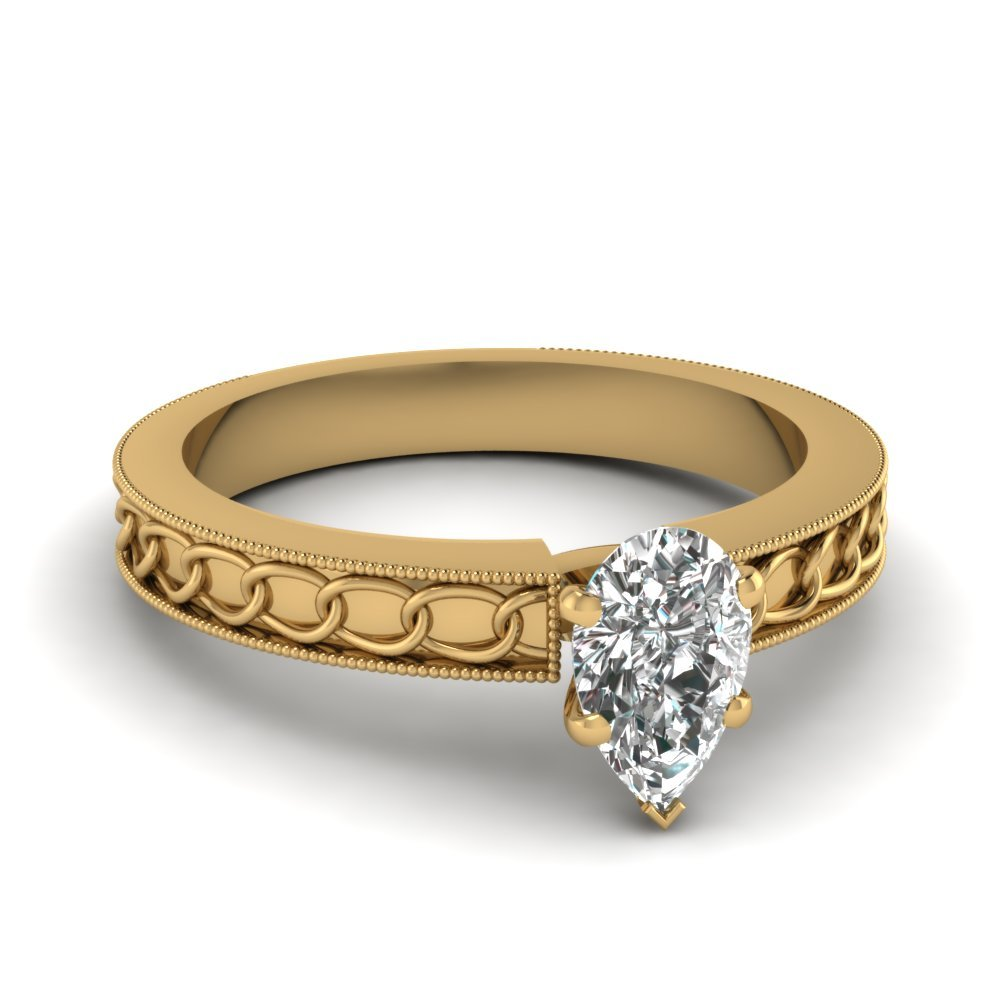 Interlocked Design Pear Solitaire Engagement Ring In 18K Yellow Gold