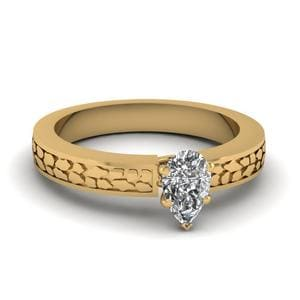 Pear Shaped Carved Solitaire Engagement Ring In 18K Yellow Gold
