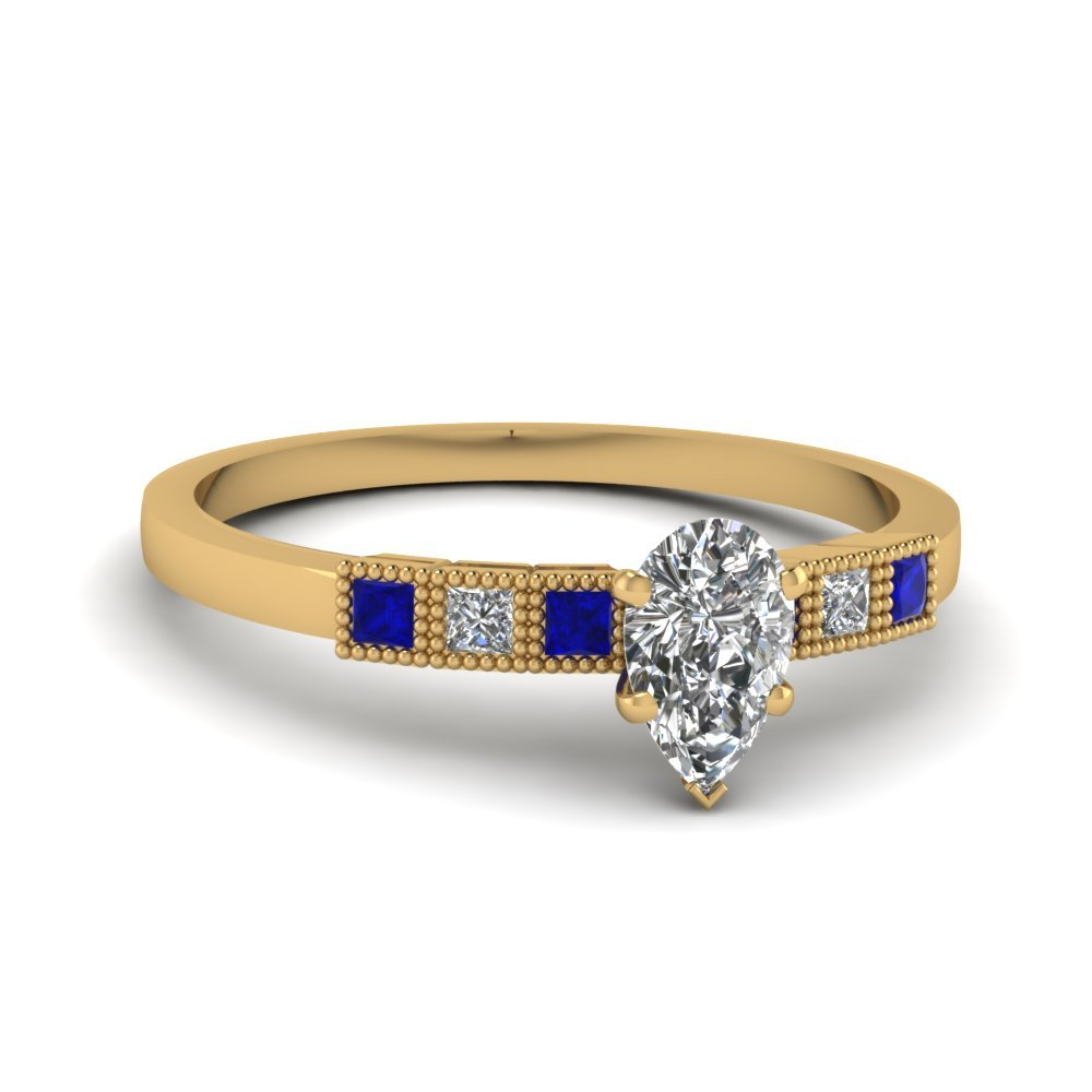 Milgrain Petite Pear Diamond Engagement Ring With Sapphire In 18K Yellow Gold