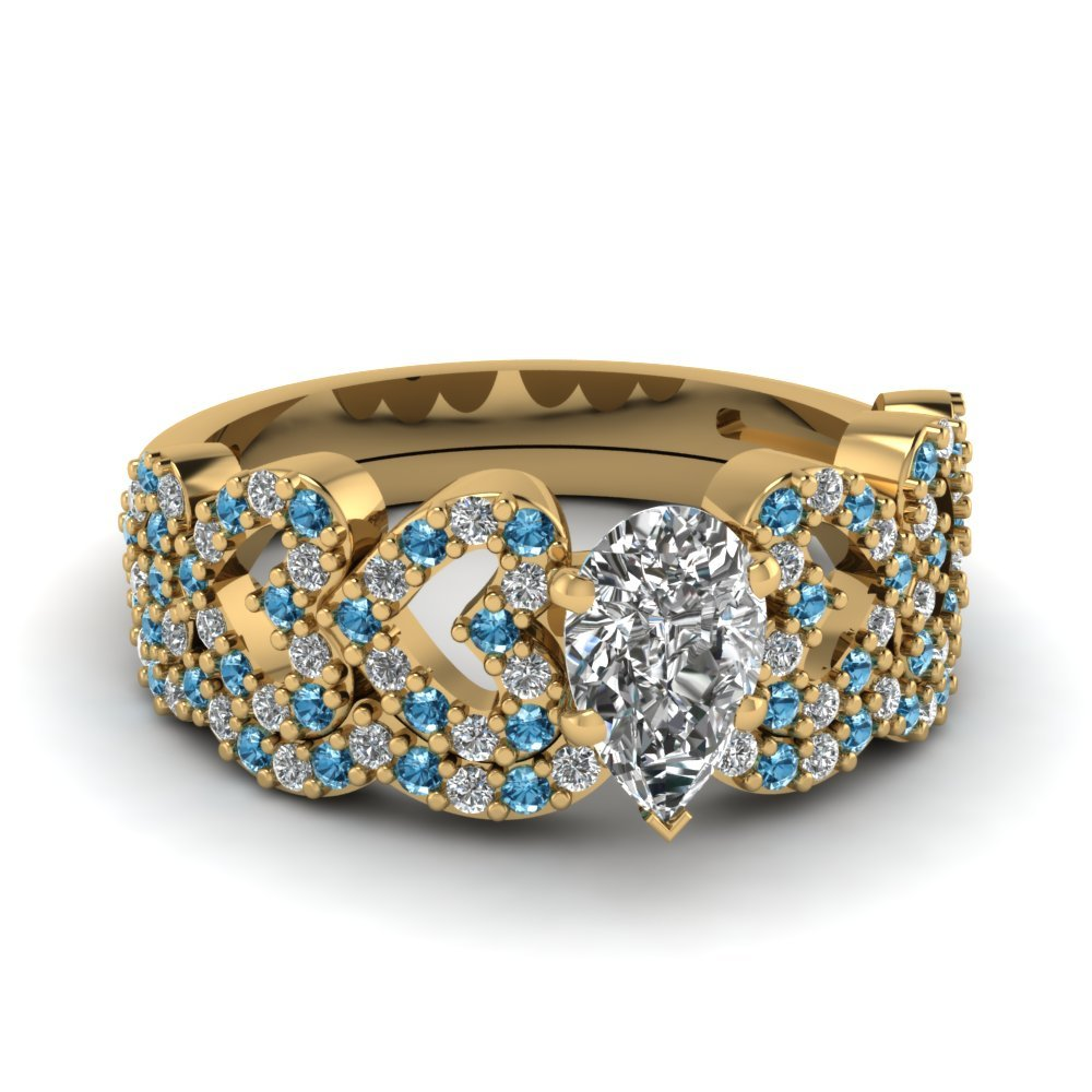 Pear Shaped Heart Design Linked Diamond Wedding Set With Blue Topaz In 18K Yellow Gold