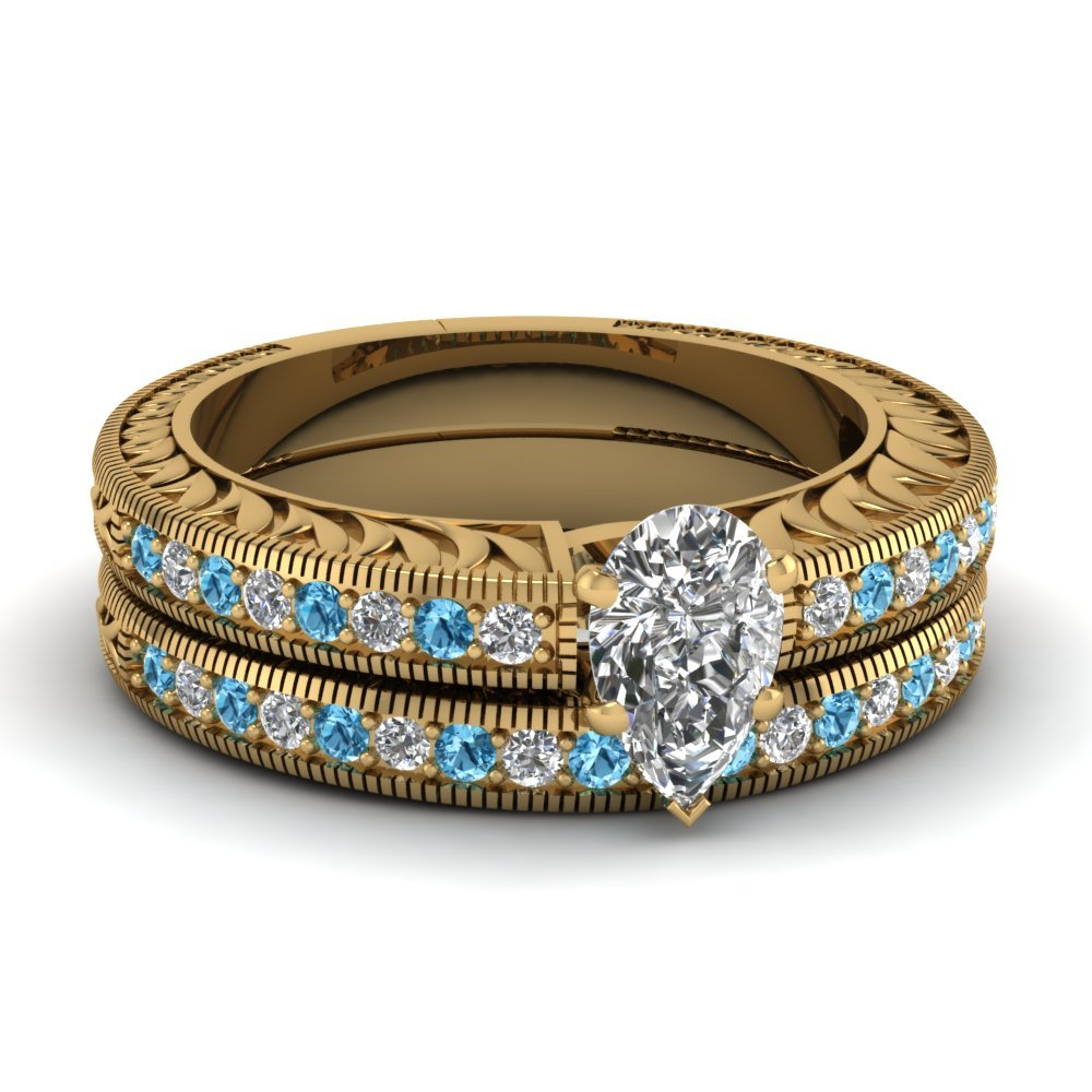 Hand Engraved Pear Shaped Vintage Wedding Ring Set With Blue Topaz In 18K Yellow Gold