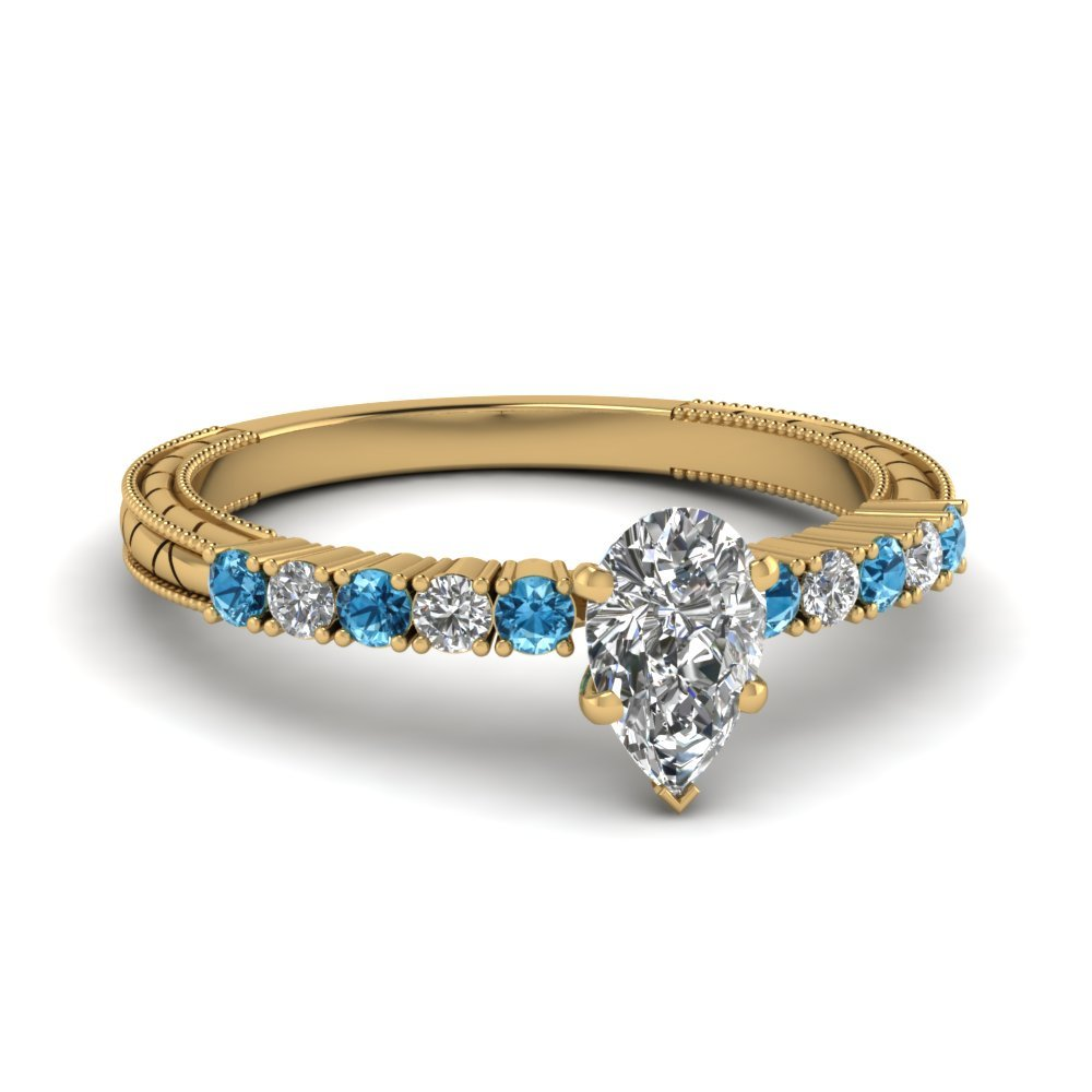 Petite Vintage Pear Diamond Engagement Ring With Blue Topaz In 18K Yellow Gold
