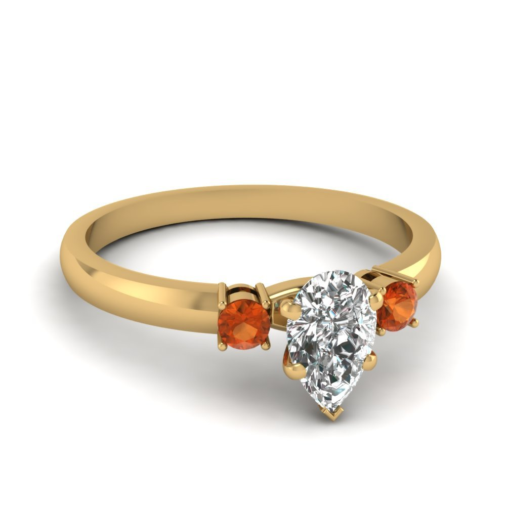 Pear Cut Orange Sapphire Ring