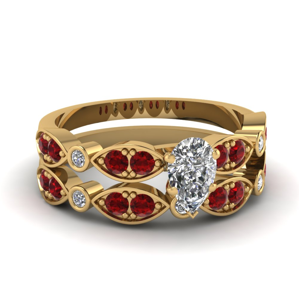 Art Deco Pear Diamond Wedding Ring Set With Ruby In 18K Yellow Gold