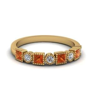Diamond Art Deco Band With Orange Sapphire In 14K Yellow Gold