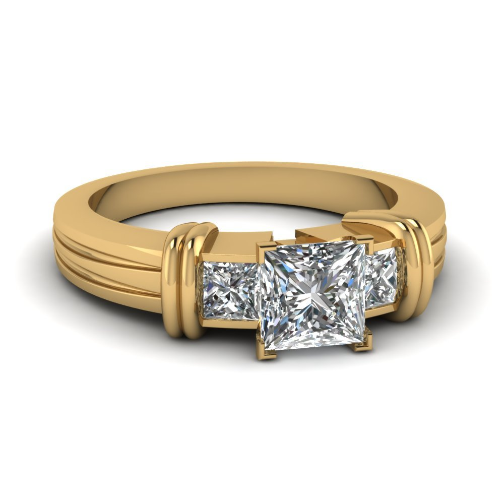 Bar 3 Stone Princess Cut Engagement Ring In 14K Yellow Gold