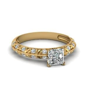Pave Knife Edge Diamond Ring