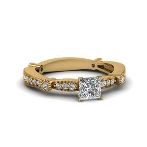 Princess Cut Diamond Vintage Tapered Engagement Ring In 14K Yellow Gold