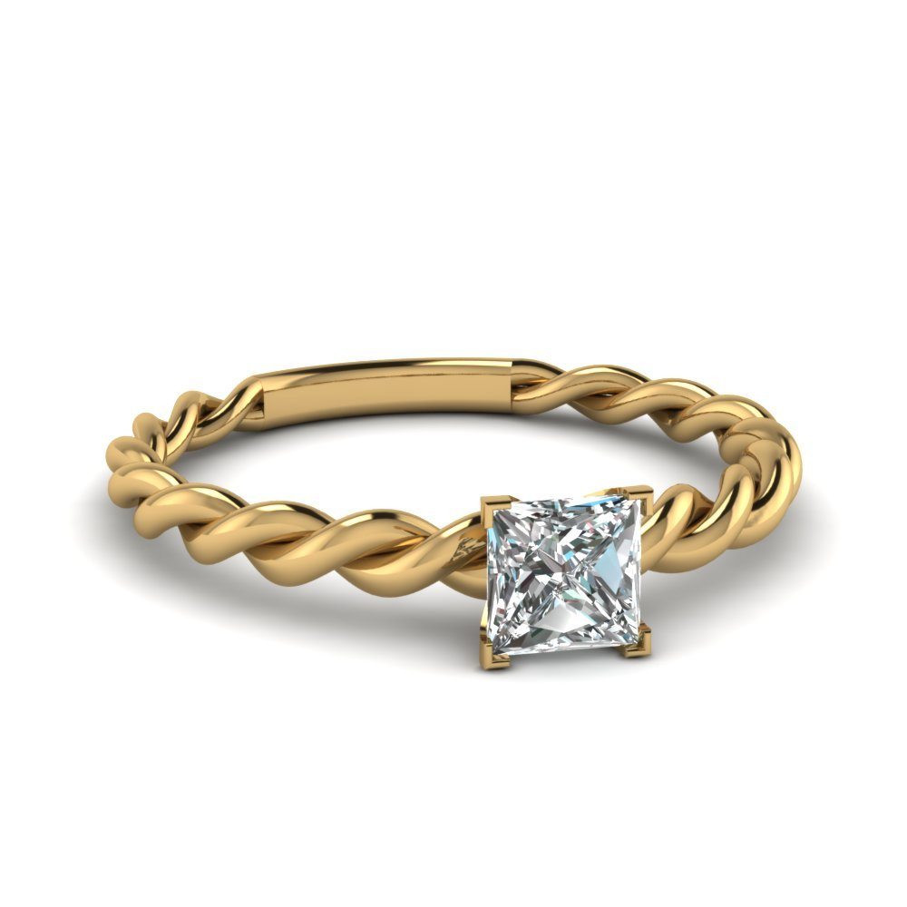 Princess Cut Solitaire Braided Ring