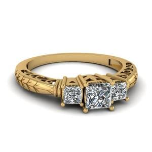Vintage 3 Stone Diamond Engagement Ring In 14K Yellow Gold