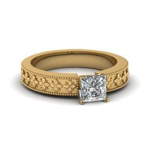 Floral Engraved Princess Cut Solitaire Engagement Ring In 14K Yellow Gold