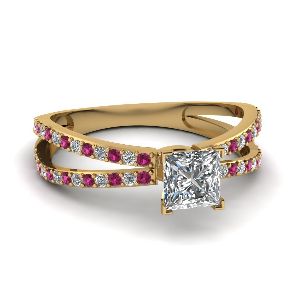 Reverse Split Shank Princess Cut Diamond Engagement Ring With Pink Sapphire In 18K Yellow Gold