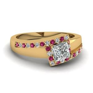 Pink Sapphire Crossover Ring