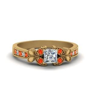Vintage Butterfly Princess Cut Diamond Engagement Ring With Orange Topaz In 14K Yellow Gold