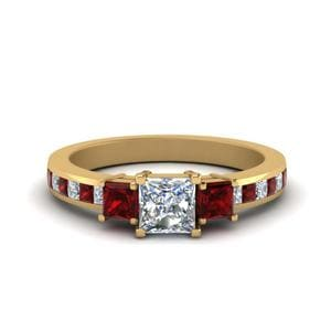 Channel 3 Stone Princess Cut Diamond Engagement Ring With Ruby In 14K Yellow Gold
