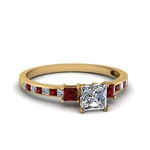 Delicate 3 Stone Princess Cut Diamond Ring With Ruby In 18K Yellow Gold