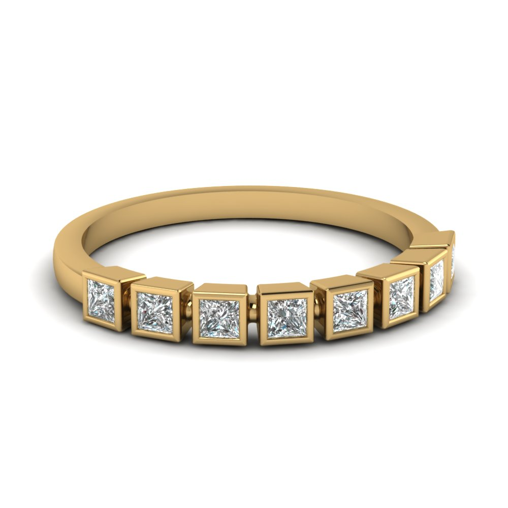 Princess Cut Bezel Diamond Wedding Band In 14K Yellow Gold