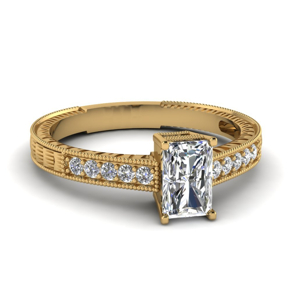 Radiant Cut Antique Engraved Diamond Engagement Ring In 14K Yellow Gold