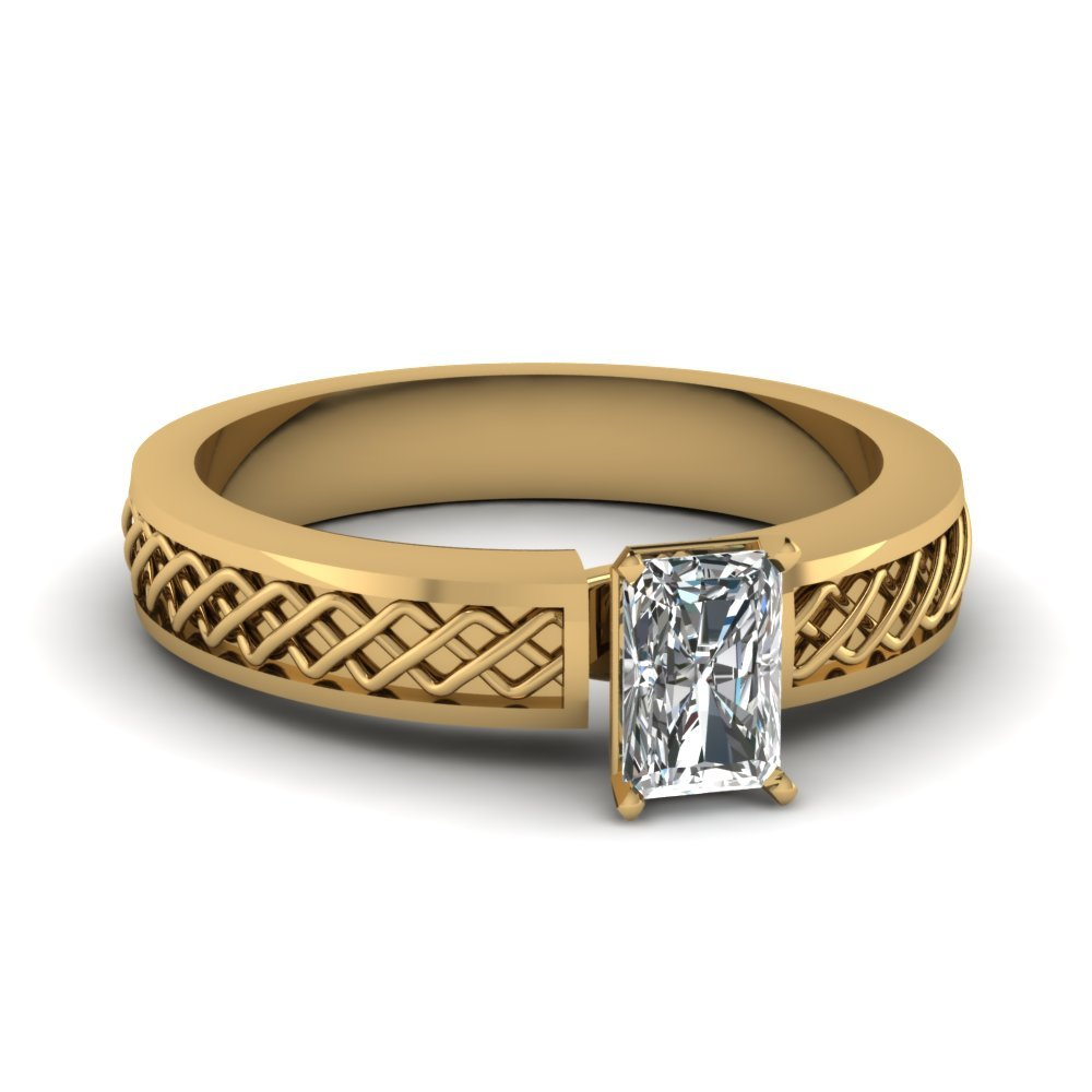 Criss Cross Radiant Cut Solitaire Engagement Ring In 14K Yellow Gold