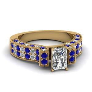 Yellow Gold Radiant White Diamond Engagement Wedding Ring With Blue Sapphire In Pave Set