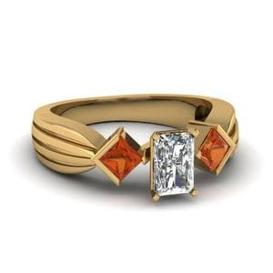 Half Bezel 3 Stone Radiant Cut Engagement Ring With Orange Sapphire In 14K Yellow Gold