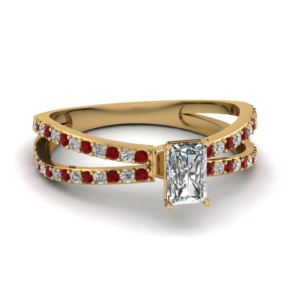 Reverse Split Shank Radiant Diamond Engagement Ring With Ruby In 14K Yellow Gold
