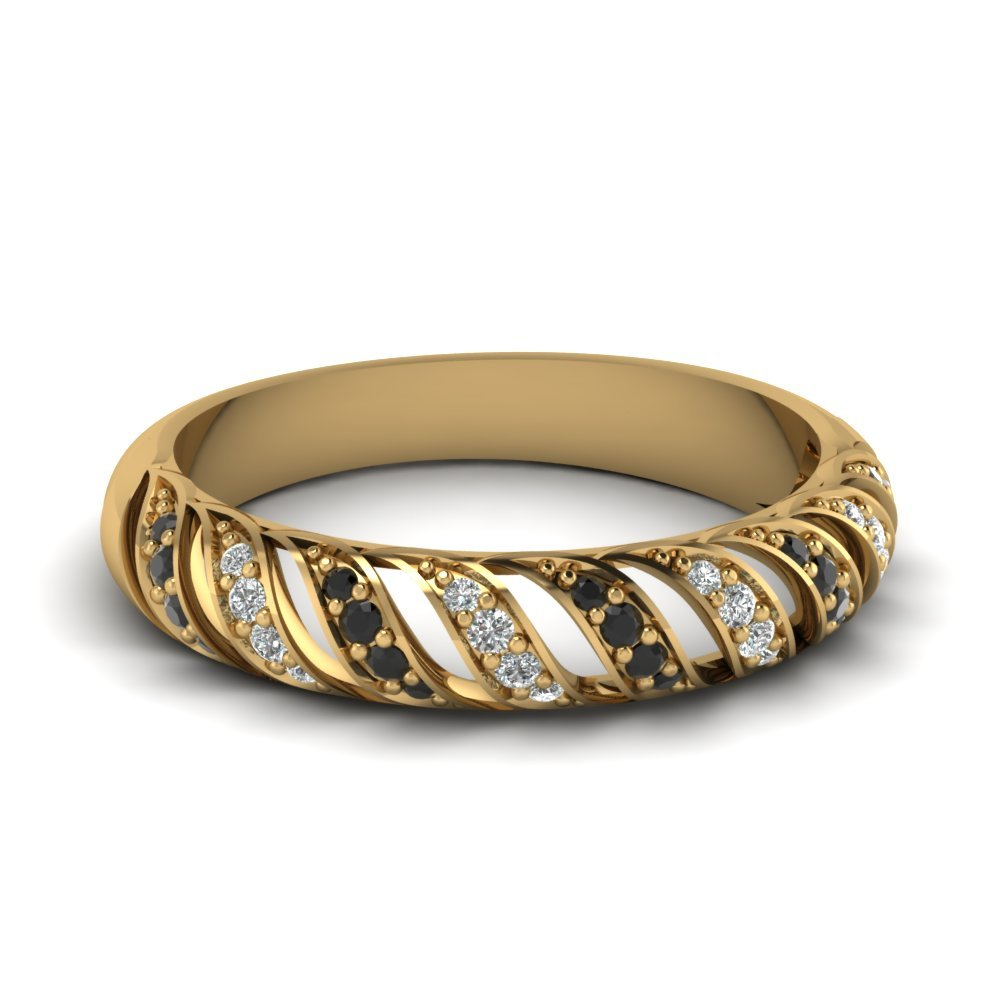 Black Diamond Rope Design Wedding Band In 18K Yellow Gold