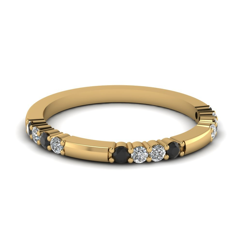 Delicate Black Diamond Wedding Band In 14K Yellow Gold