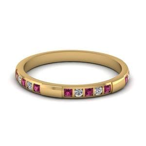 Womens Wedding Bands with Pink Sapphire in 14K Yellow Gold