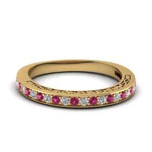 Pink Sapphire Vintage Wedding Band