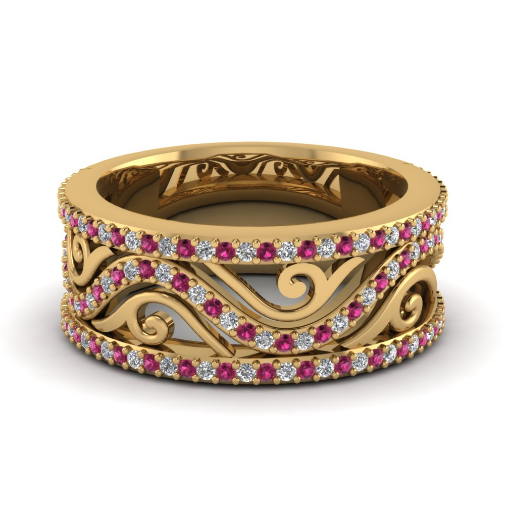 Wedding Band with Pink Sapphire