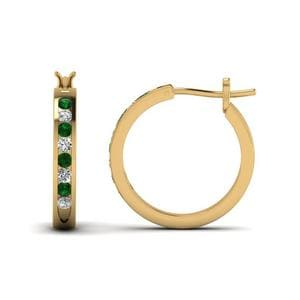 Half Carat Diamond Small Hoop Earring With Emerald In 14K Yellow Gold