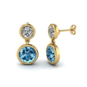 Bezel Round Blue Topaz Drop Earring