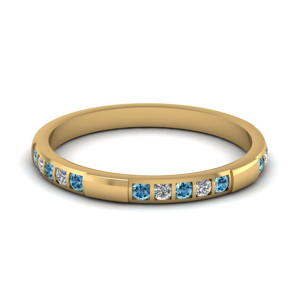 Womens Wedding Bands with Ice Blue Topaz in 14K Yellow Gold