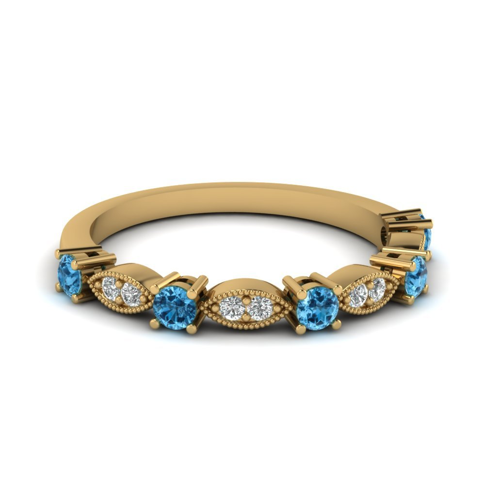 Art Deco Round Diamond Wedding Band With Blue Topaz In 18K Yellow Gold