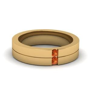 Mens Orange Sapphire Ring