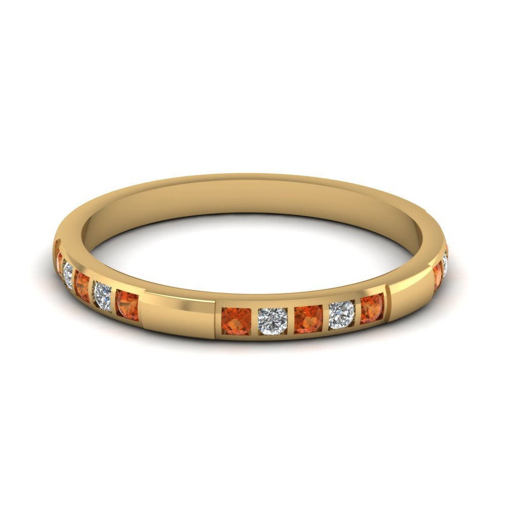 Womens Wedding Bands with Orange Sapphire in 14K Yellow Gold