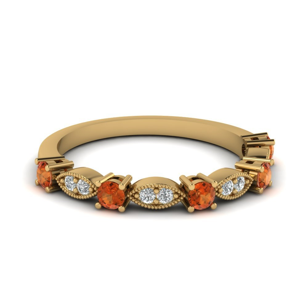 Art Deco Round Diamond Wedding Band With Orange Sapphire In 14K Yellow Gold