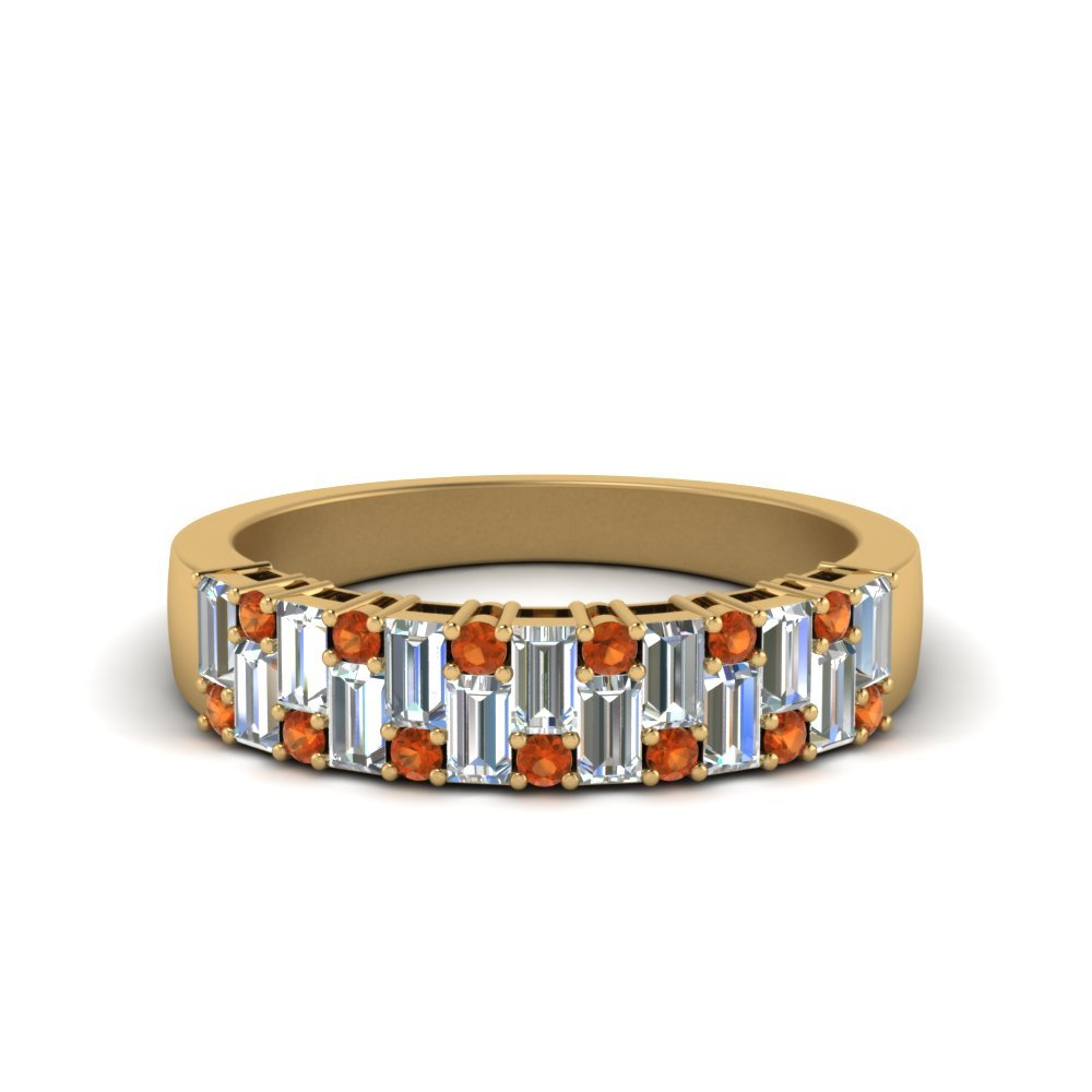 Vintage Baguette Wedding Band With Round Orange Sapphire In 14K Yellow Gold