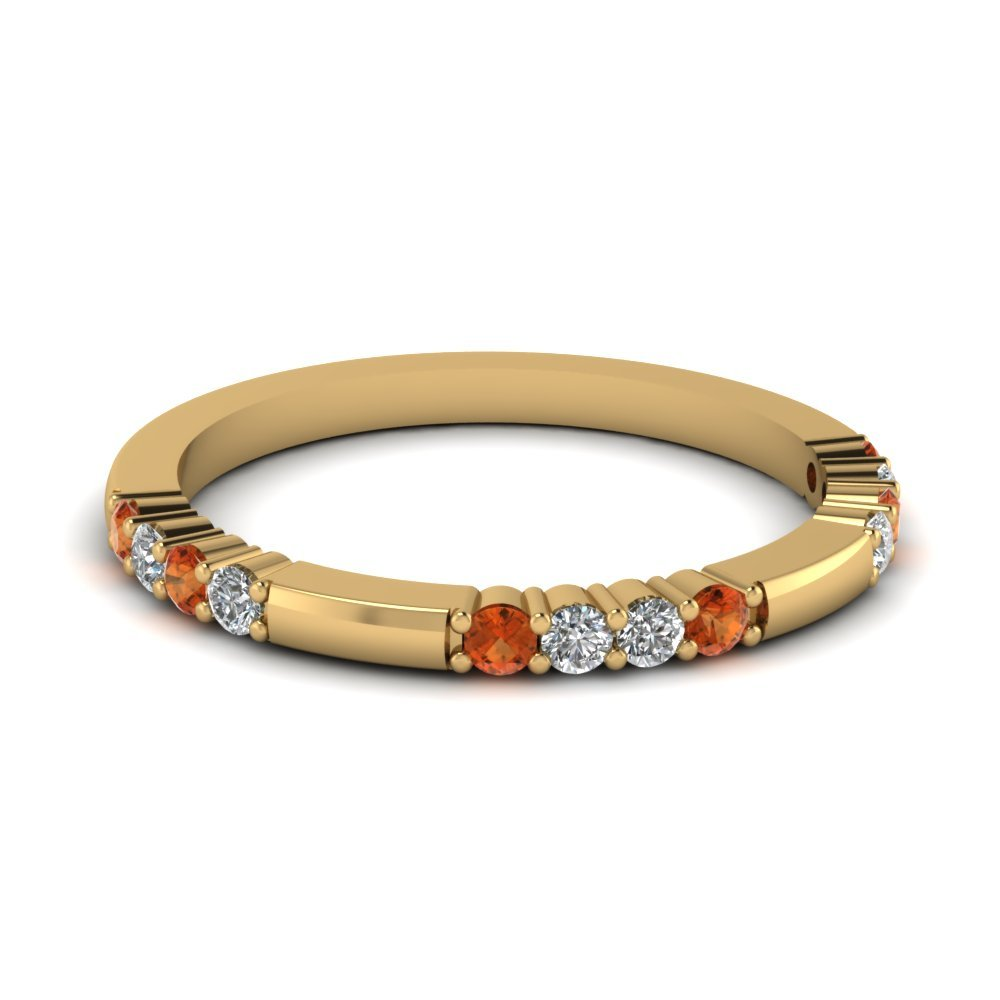 Delicate Diamond And Orange Sapphire Wedding Band In 14K Yellow Gold