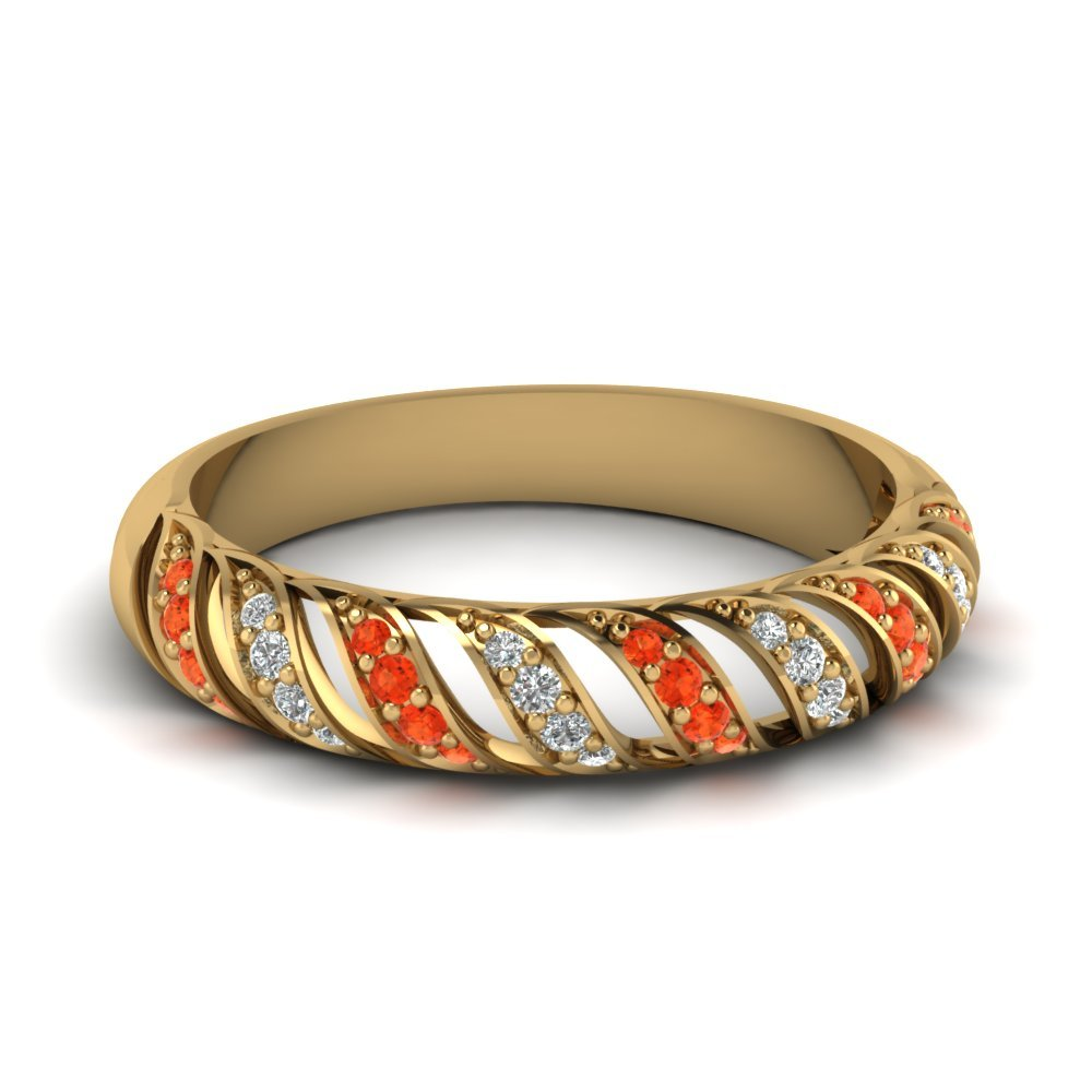Orange Topaz Rope Design Diamond Wedding Band In 14K Yellow Gold
