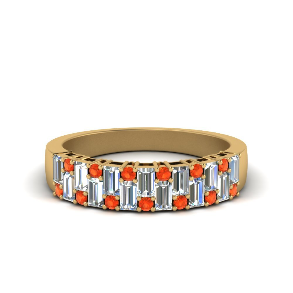 Vintage Baguette Wedding Band With Round Orange Topaz In 18K Yellow Gold